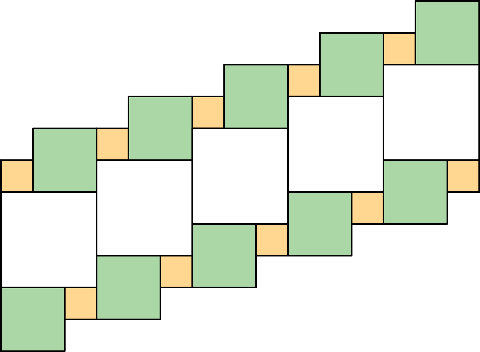 A plane composed of a series of squares. There are 5 large squares, 10 medium squares, and 10 small squares.