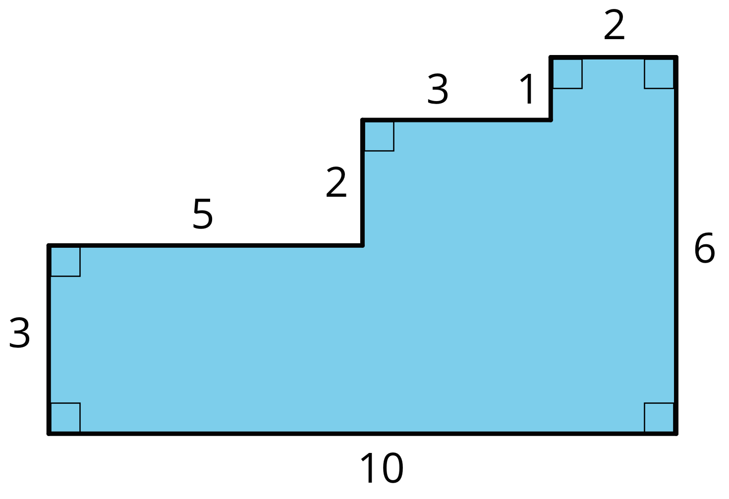 A figure with a bottom of 10 units, a right side of six units, and a left side that rises 3 units, then goes across 5 units, then goes up another 2 units, then across another 3 units, then up another 1 unit, and across another 2 units to connect to the right side. All angles are right angles.