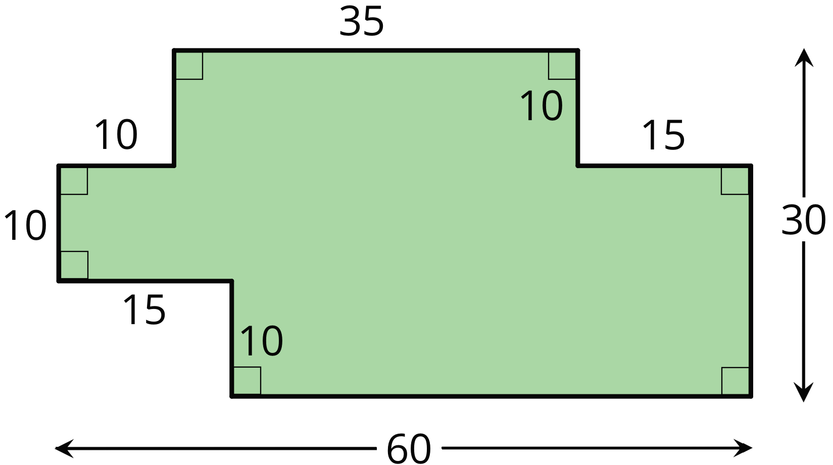 A multi-sided figure. The sides on top measure 10 units, 35 units, and 15 units. Two of the three sides on the left measure 10 units. One of the two sides on the right measures 10 units. One of the two sides on the bottom measure 15 units. The total width of the figure is 60 units, and the total height is 30 units. All angles are right angles.