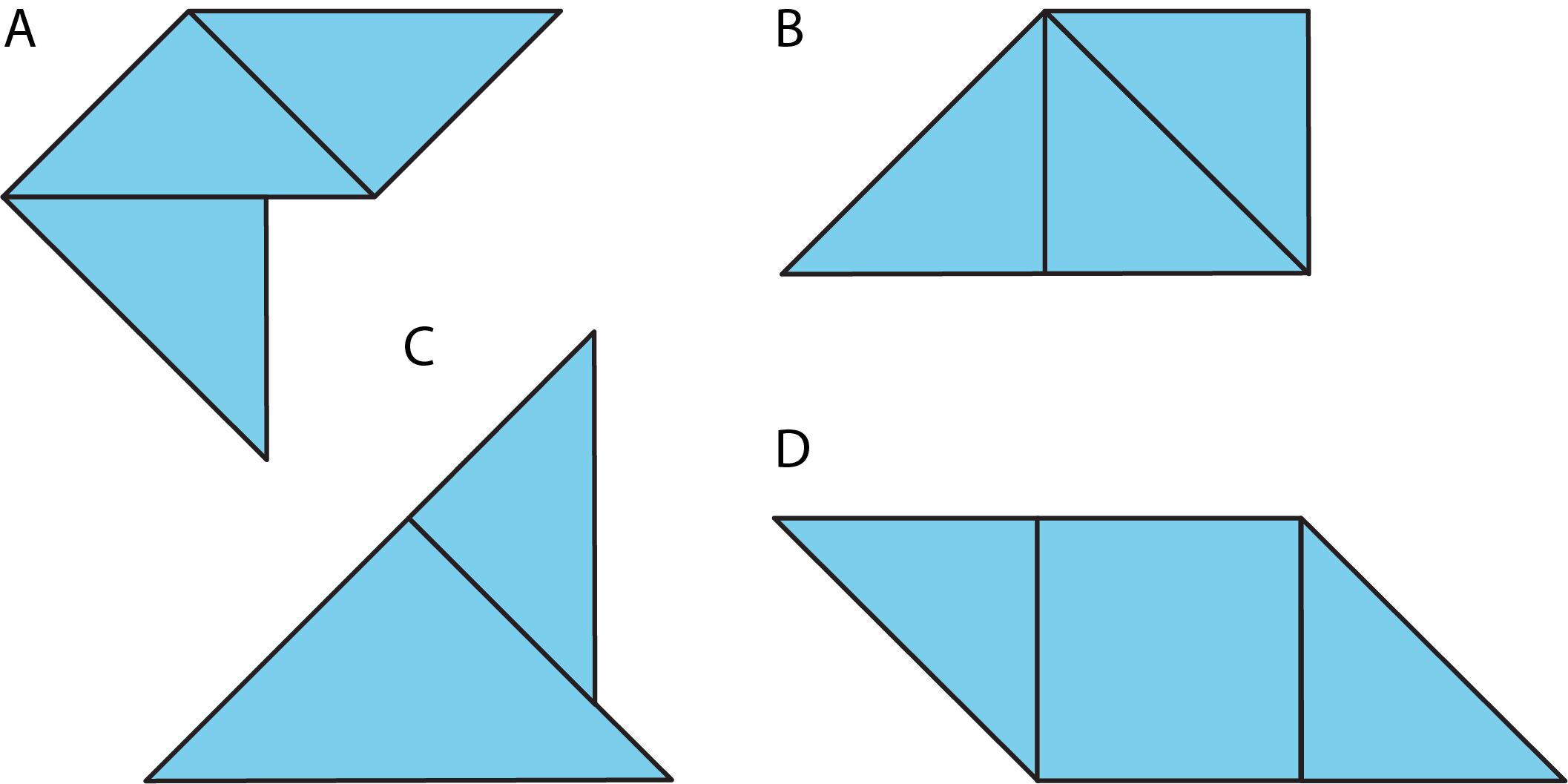 Four figures labeled A, B, C, and D. Figure A is composed of three small triangles, figure B is composed of three small triangles in a different arrangement, figure C is composed of one medium triangle and one small triangle, and figure D is composed of two small triangles and one square.