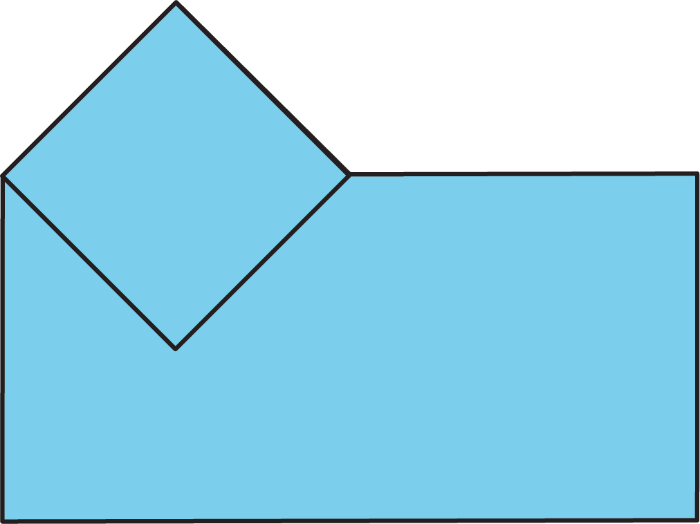 A small square partly contained within a larger rectangle. The square is rotated 45 degrees and contacts the rectangle at its upper left corner.