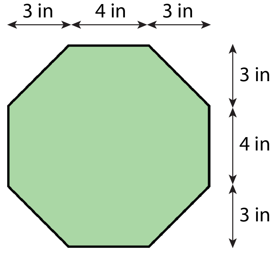 An octagon with straight sides that are 4 inches long, and angled sides that are both 3 inches high and 3 inches wide.