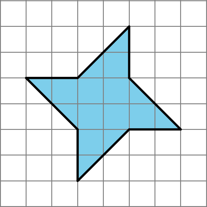 A shape with eight sides. Four sides are straight sides and extend left, right, up and, down for 2 units each. The remaining sides are angled sides connecting each of the straight sides to the next. The shape is a total of 6 units tall and 6 units wide.