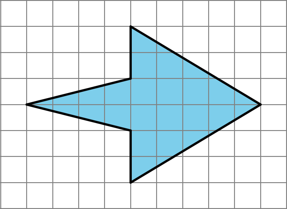 A shape with six sides. It is 9 units long and six units wide at it's widest point. Two vertical sides connect four sloped sides, which meet at either end of the shape.