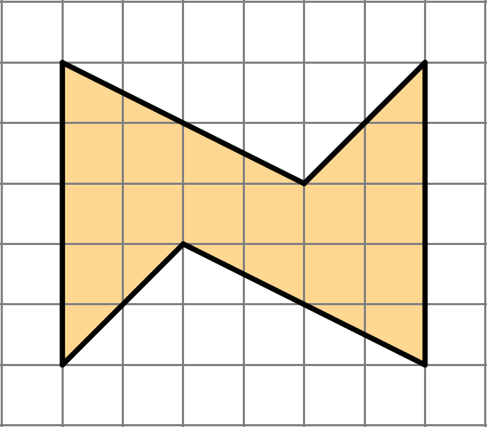 A shape with six sides. There are two vertical sides measuring five units, two angled sides that fall 2 units over 4 units and two sides that fall 2 units over 2 units.