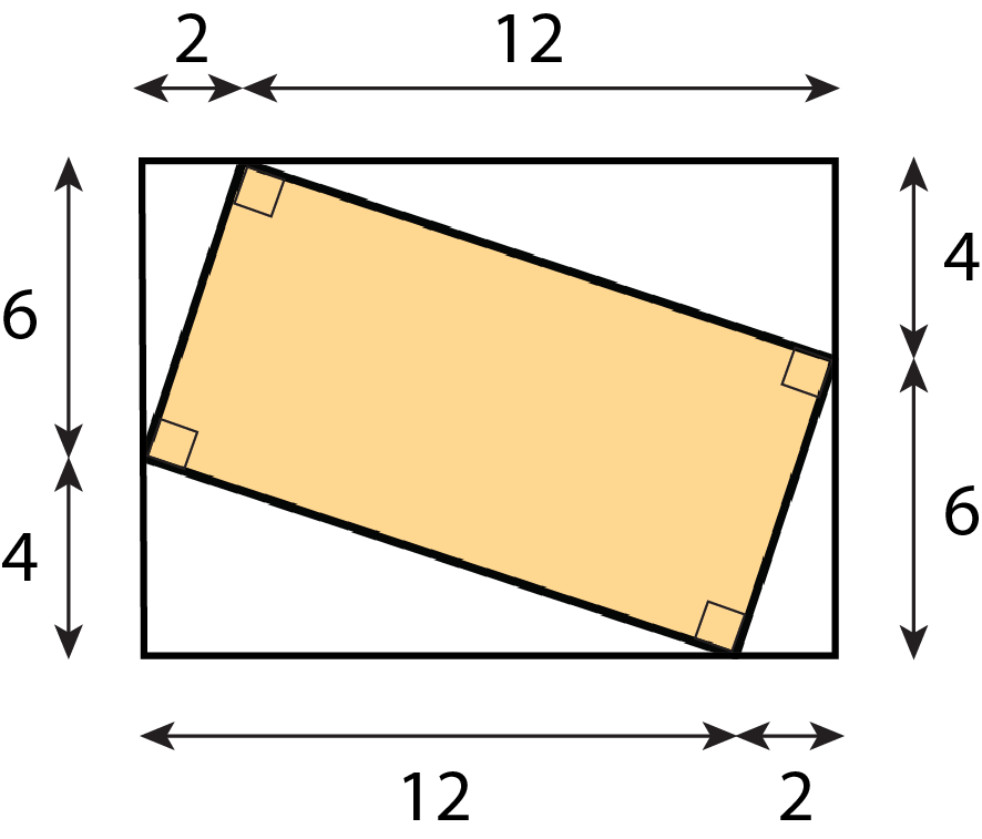 A shaded rectangle located at an angle within a larger rectangle. The sides of the larger rectangle are divided where the smaller rectangle contacts them. The longer sides are labeled 2 and 12 on each side of the divide, and the shorter sides are labeled 6 and 4 on each side of the divide.