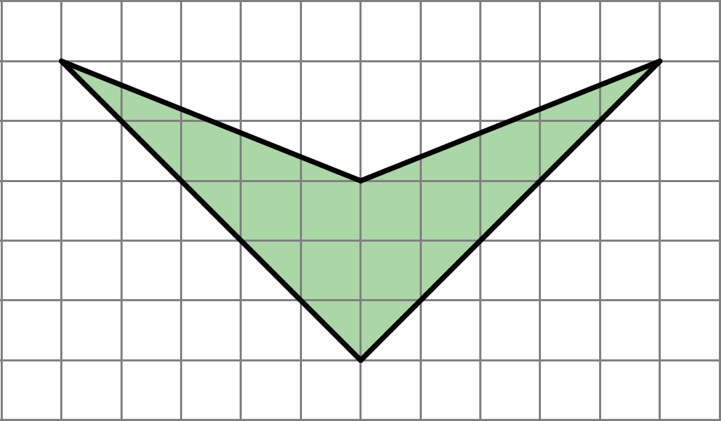 A four-sided shape on a grid, with two sides that drop 5 units as they cross 5 units and meet at a right angle, and two sides that drop two units as they cross 5 units.
