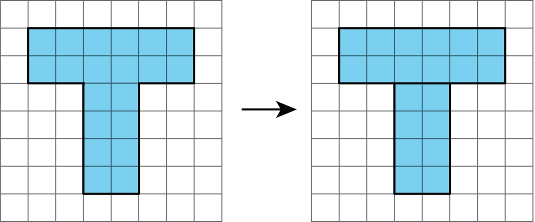 "Two images of a t-shaped object. The upper portion is 2 units tall and 6 units wide. The stem of the ""t"" is 4 units tall and 2 units wide. The second image is the same, except there is a line separating the upper portion and lower portion into two rectangles."