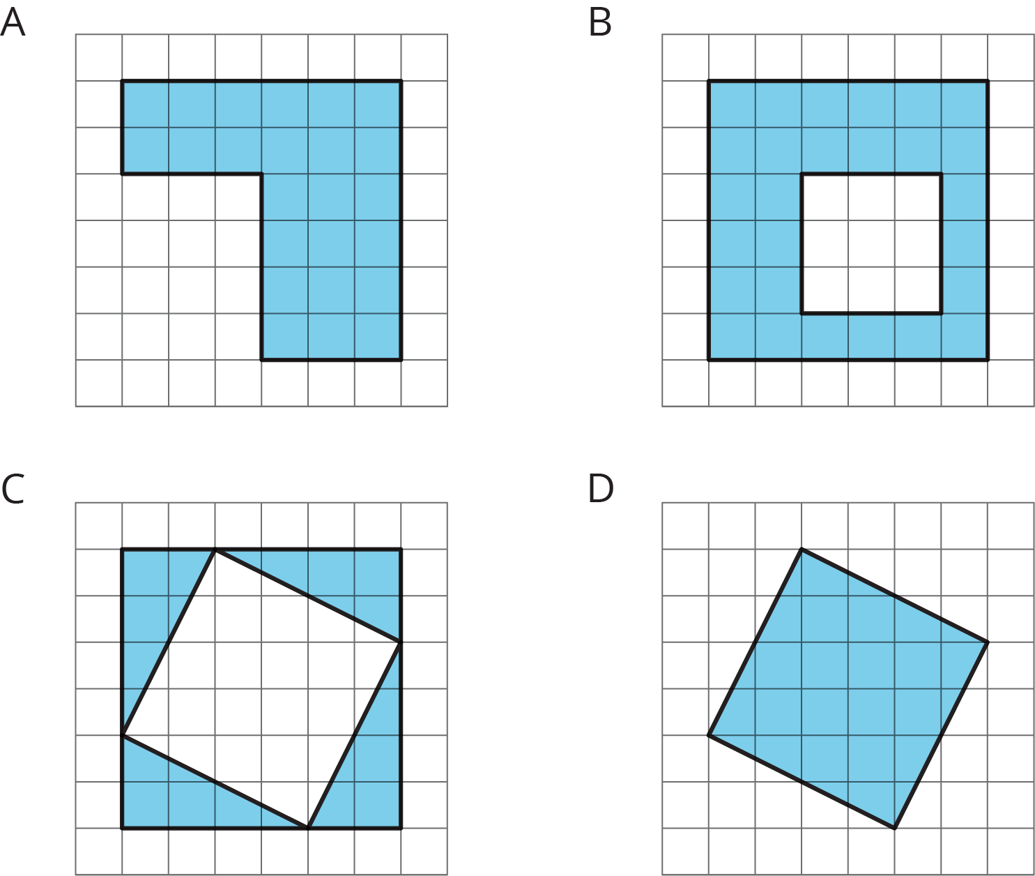 Four figures, each on a white square grid. Figure A is a green corner piece with 6 sides. Figure B a 6 by 6 green square with a 3 by 3 white square inside. Figure C a 6 by 6 green square with a tilted white square inside. Figure D is a green tilted square.