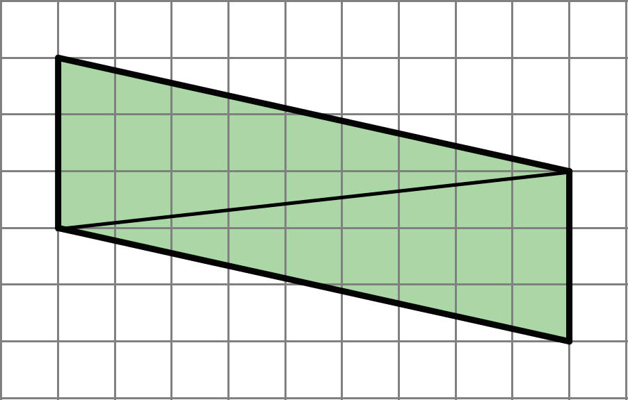A parallelogram with a line connecting two opposite corners. The parallelogram has a base of 3 units and a height of 9 units.