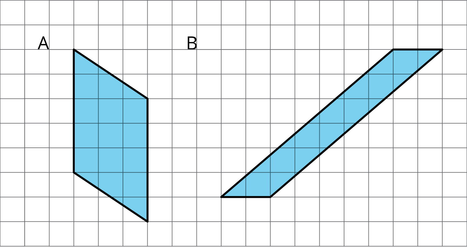 Two figures on a grid: parallelogram A and parallelogram B.