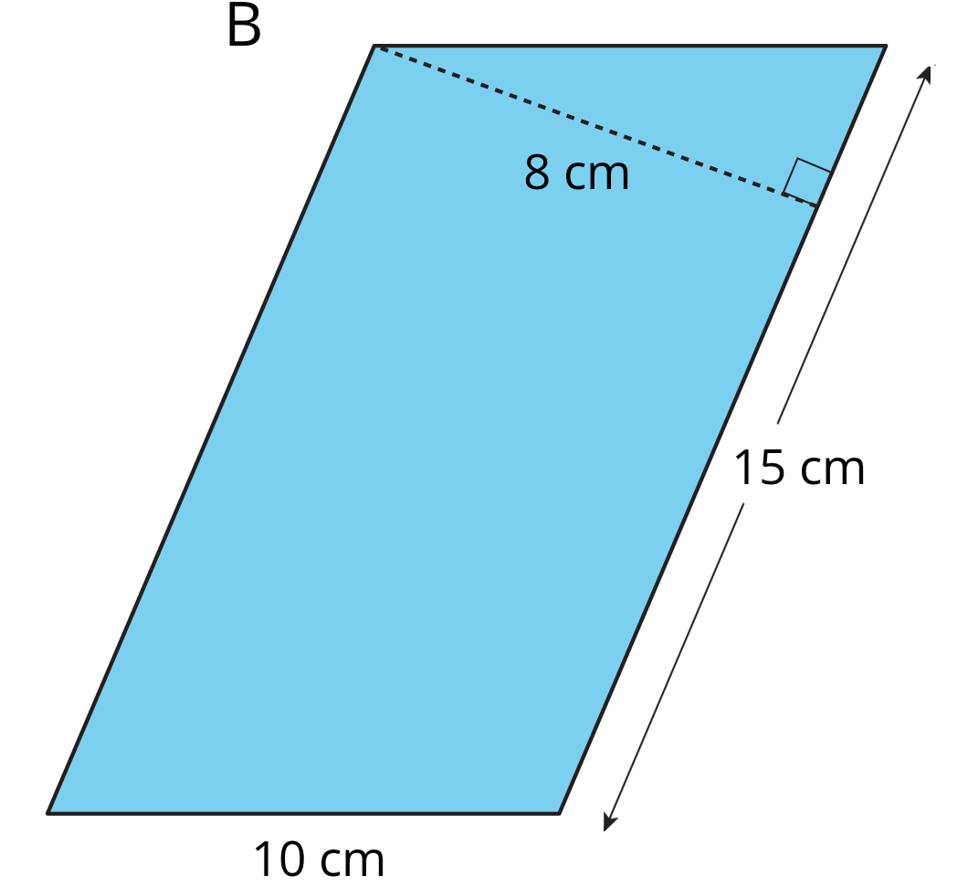 A parallelogram with side lengths 15 centimeters and 10 centimeters. An 8-centimeter perpendicular segment connects one vertex of the 15-centimeter side to a point on the other 15-centimeter side.