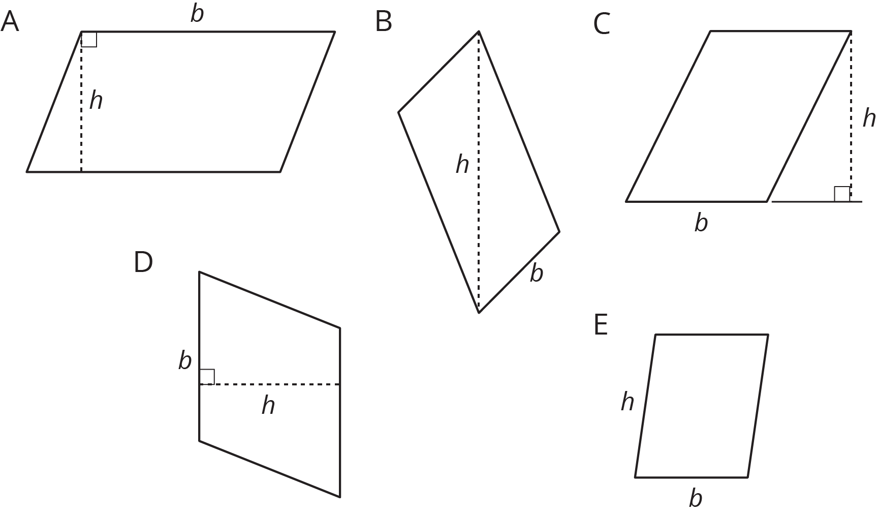 Five parallelograms labeled A--E.