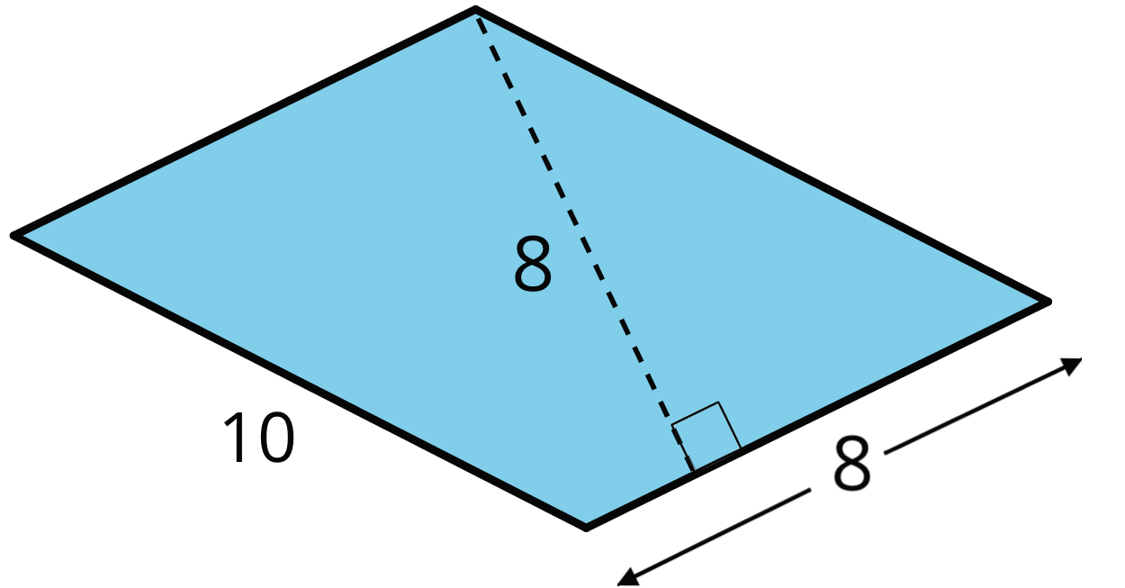 A parallelogram with side lengths 10 units and 8 units. An 8-unit perpendicular segment connects one vertex of the 8 unit side to a point on the other 8 unit side.