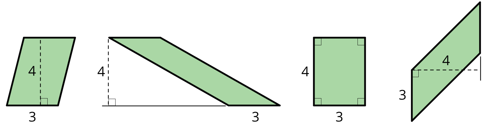 Four different parallelograms. Each parallelogram has a base labeled 3 and a height labeled 4.