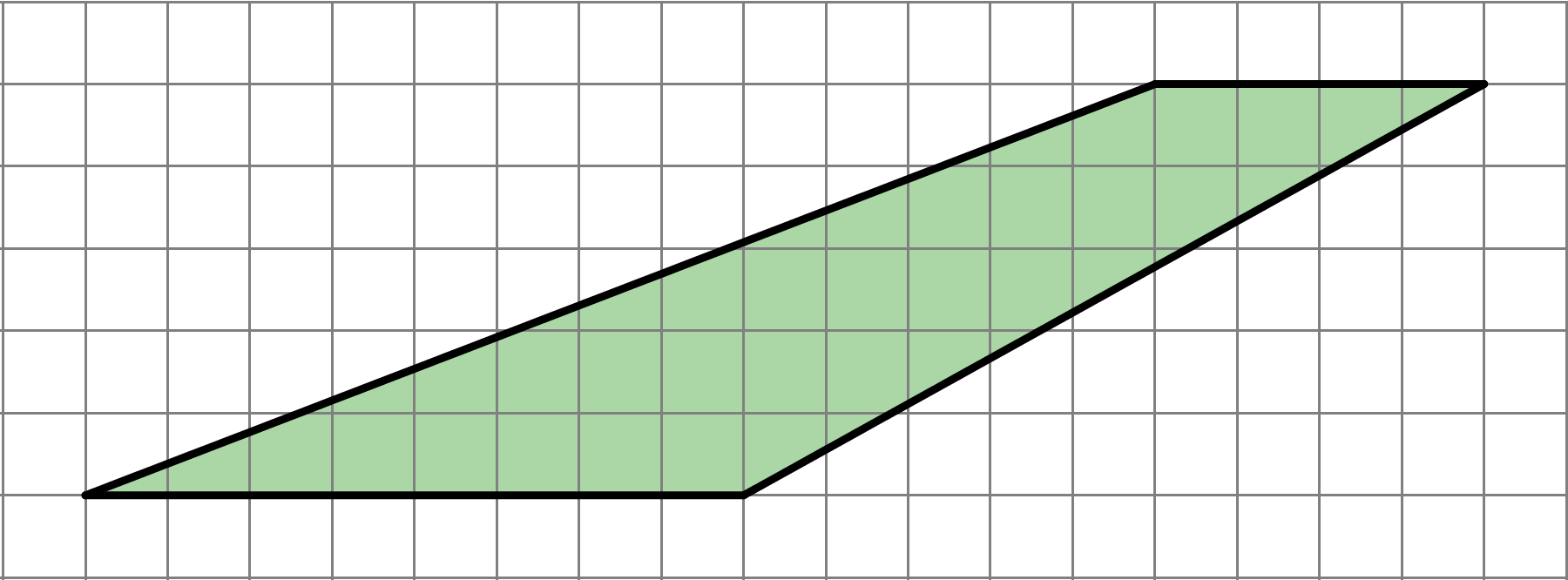 A quadrilateral with a bottom side length of 8 units, a top side length of 4 units. The left side ascends 5 units while moving right 13 units, and the right side ascends 5 units while moving right 9 units.