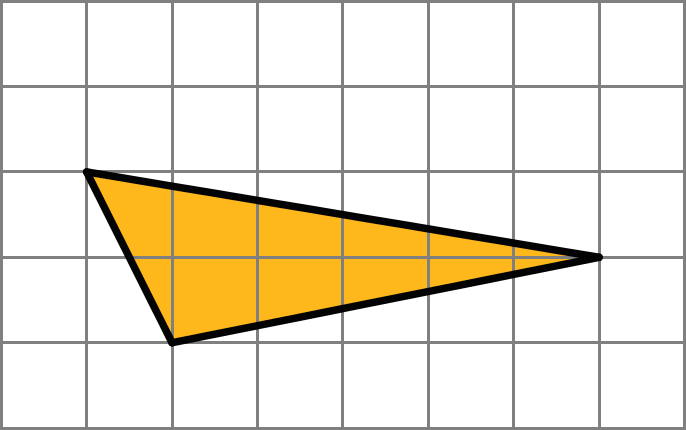 A triangle. The left side of the triangle descends 2 units while moving left by 1 unit. The top side descends 1 unit while moving left 6 units. The bottom side moves up 1 unit while moving left 5 units.