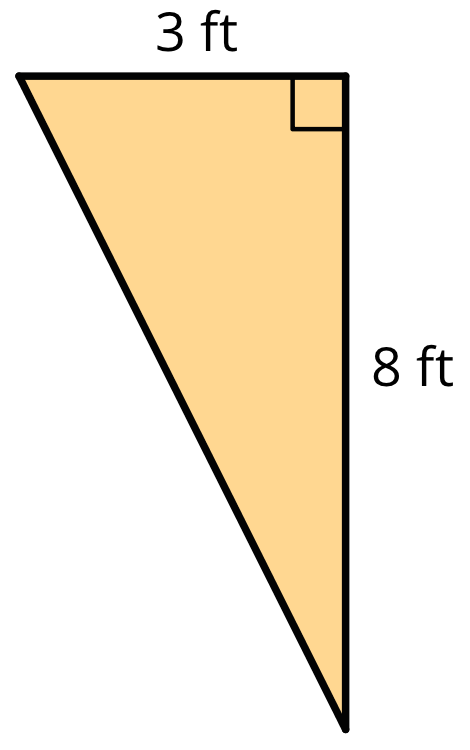 A right triangle with a base of 3 feet and a height of 8 feet.