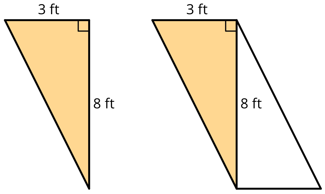 A triangle with one side labeled 3 feet and another labeled 8 ft. To the left is the same triangle with a copy composed along the 8 feet side to create a parallelogram.
