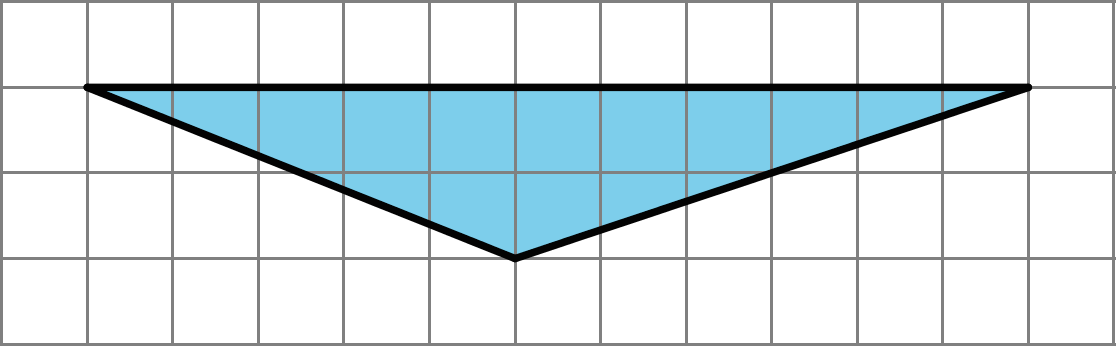 A triangle that has two vertices 11 units apart from one another horizontally, and a third vertex that is 2 units below the horizontal line and five units right of the left vertex and 6 units right of the left vertex.