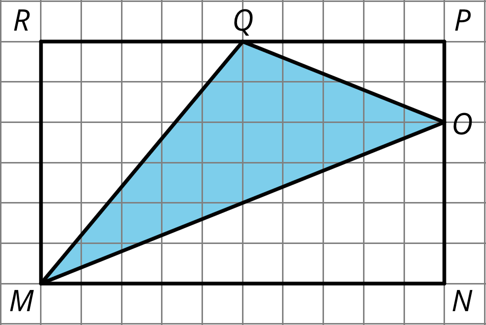 A triangle with vertices labeled M, Q, and P. Triangle MQP is enclosed in a rectangle MRPN. Sides MR and PN of the rectangle are six units high, and sides RP and MN of the rectangle are 10 units long. Vertex Q is five units across side RP, and vertex O is 2 units down on side PN.