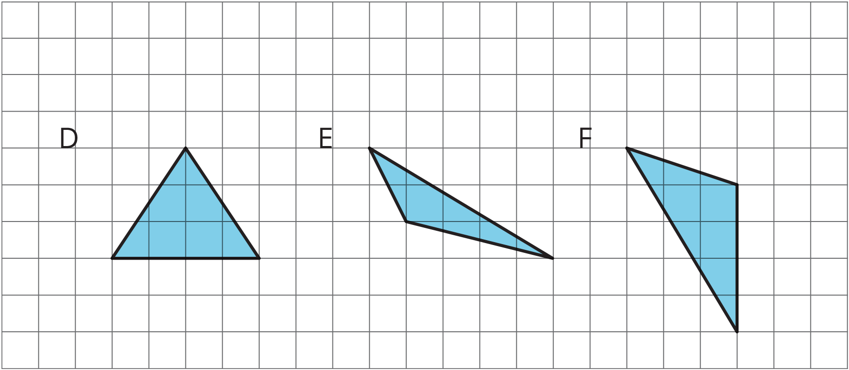Three triangles labeled D, E, and F.