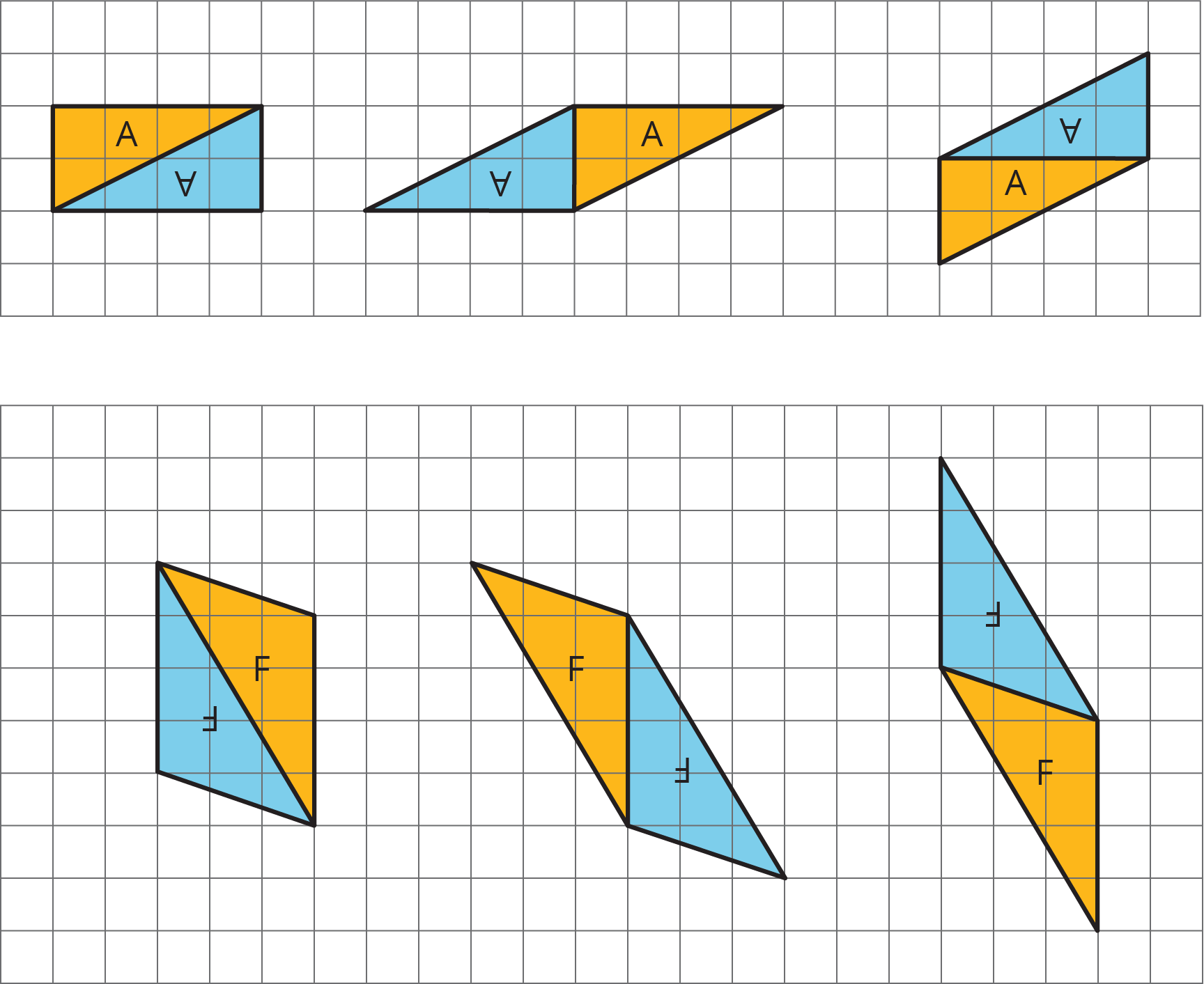 Six parallelograms composed from two identical triangles.