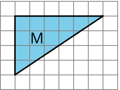 "A triangle labeled ""M"". The left side is 4 units tall and the top side is 6 units wide."