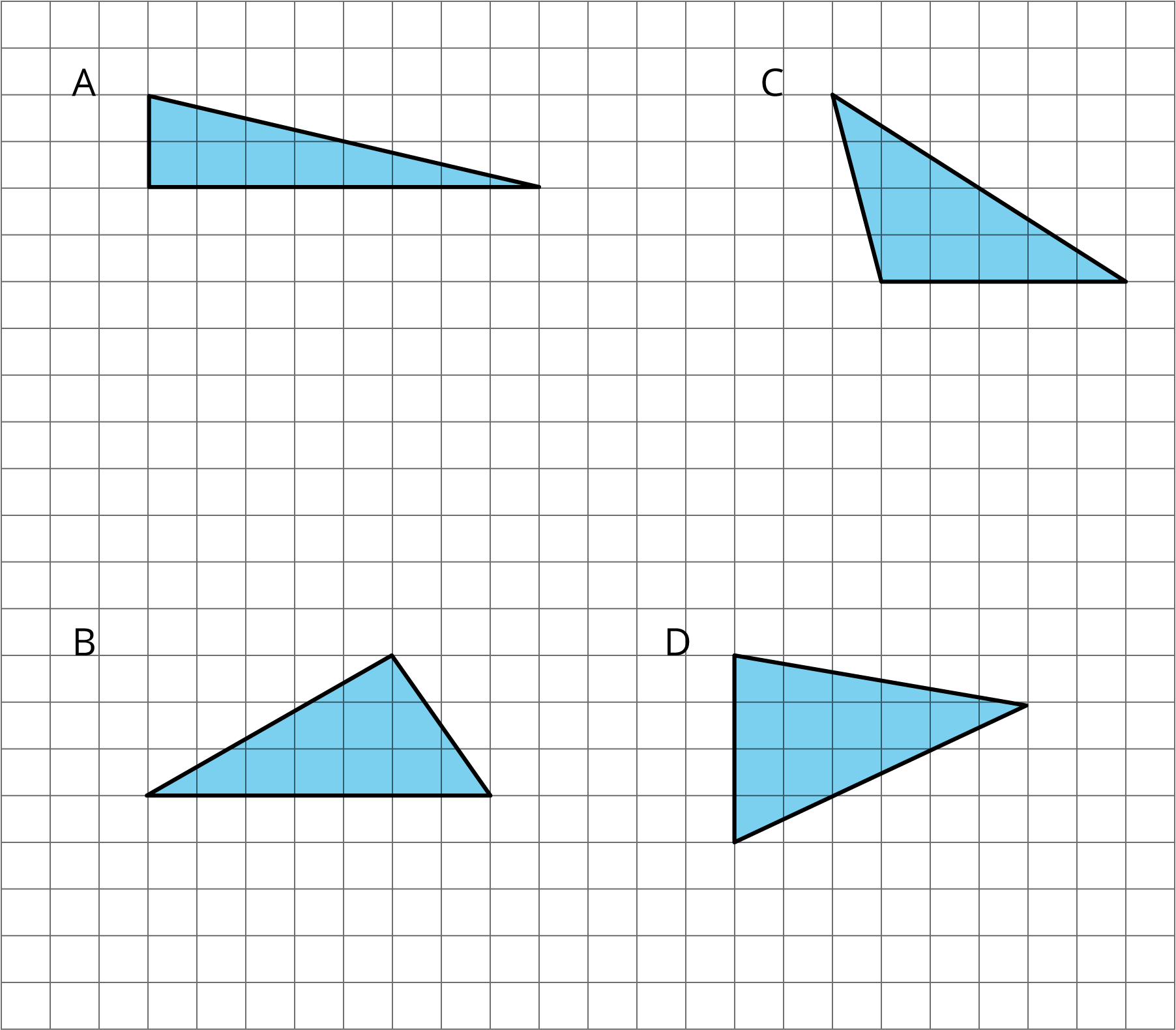 Four triangles on a grid labeled A--D.