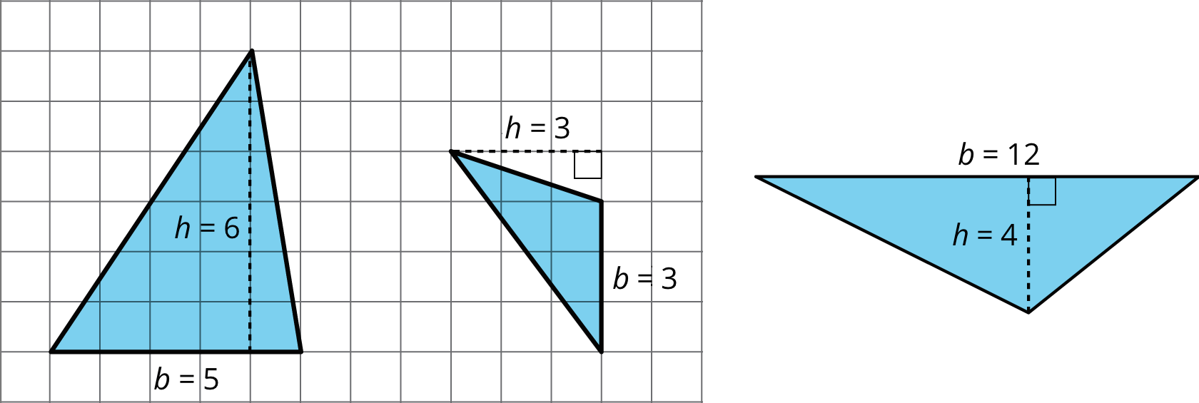 Three figures: triangle A with base 5 and height 6; triangle B with base 3 and height 3; triangle C with base 12 and height 4.