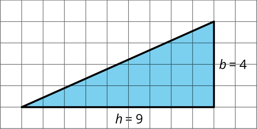 A right triangle with legs of length 4 and 9.