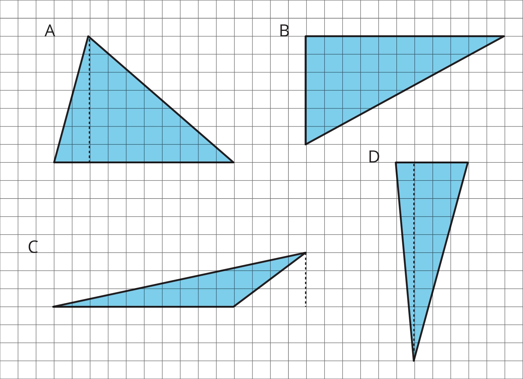 Four triangles labeled A--D on a grid.