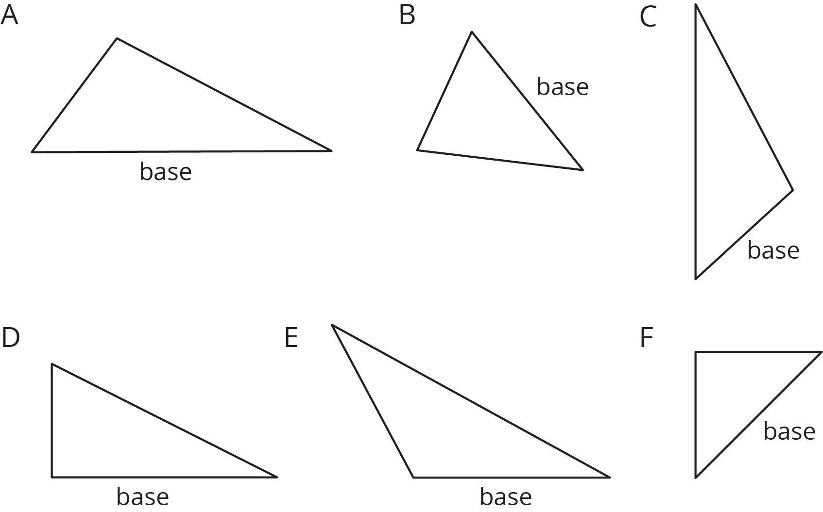 Six triangles labeled A--F each with one side marked as the base.