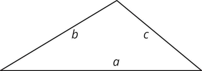 A triangle with sides labeled a, b, and c.