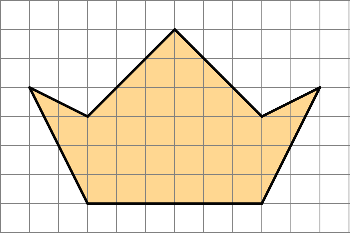 An image of a 7-sided polygon. The bottom side of the polygon is six units long, and extends out to a total width of 10 units, and a central height of 6 units.