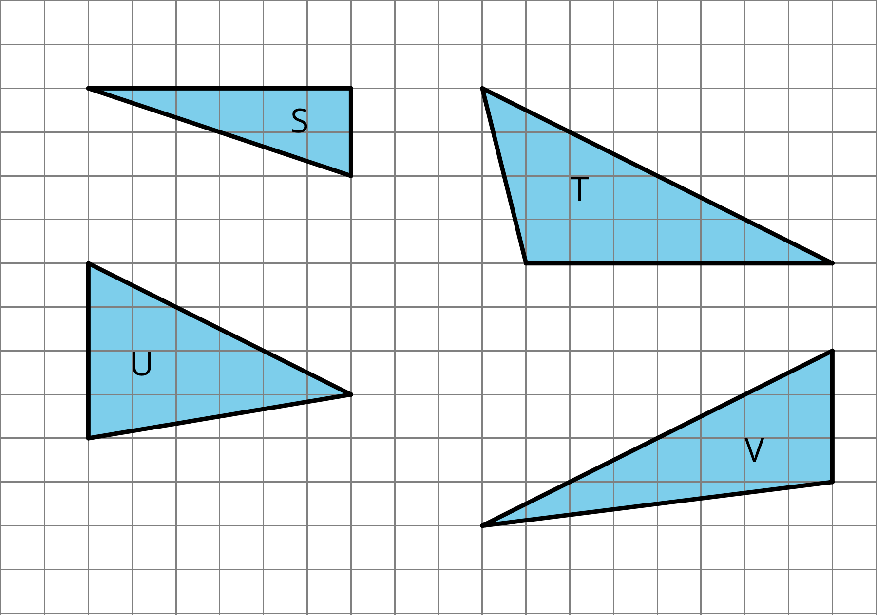 Four triangles on a grid, labeled S, T, U, and V.