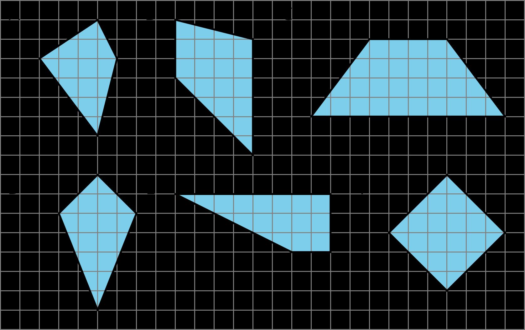 Six quadrilaterals labeled A--F.