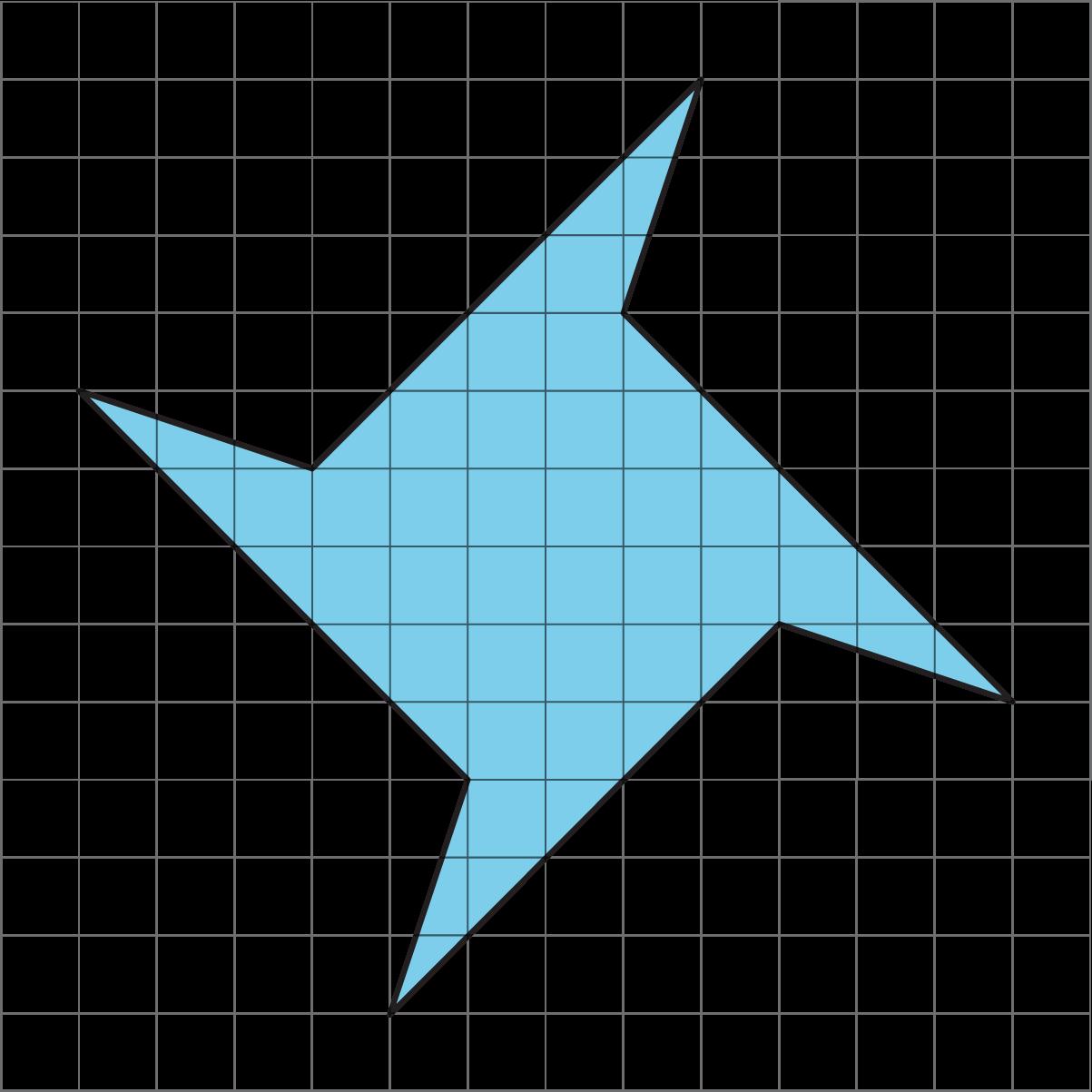 A shaded polygon on a grid.