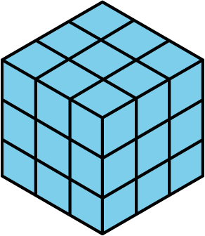 A cube whose length, width, and height are each 3 centimeters.