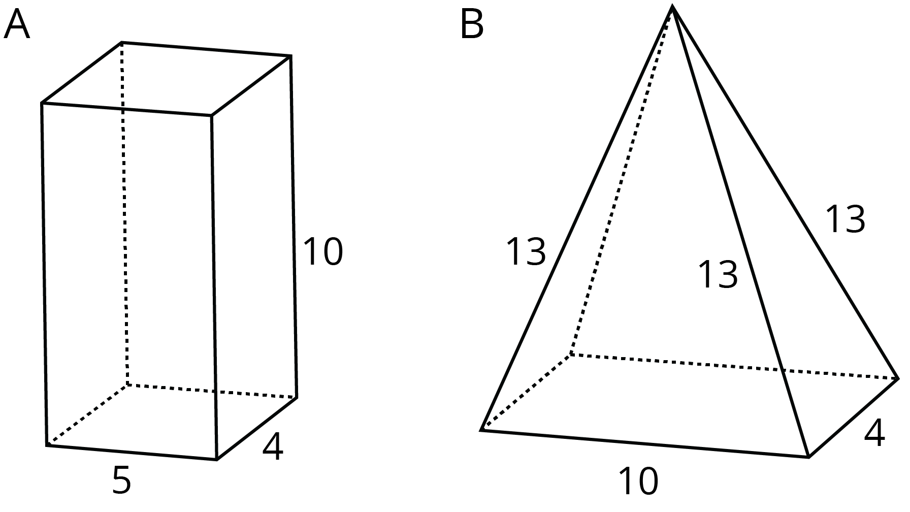 Two polyhedra labeled A and B. Polyhedron A has sides labeled 5, 4, and 10. Polyhedron B has sides labeled 4, 10, 13, 13, and 13.