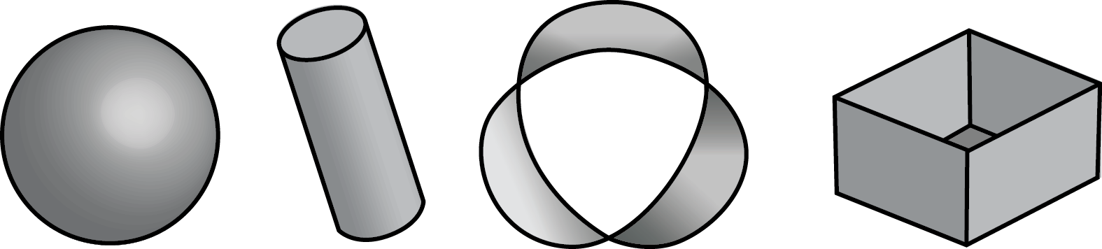 a sphere, a cylinder, a strip with 3 twists joined end-to-end, and an open-top box.