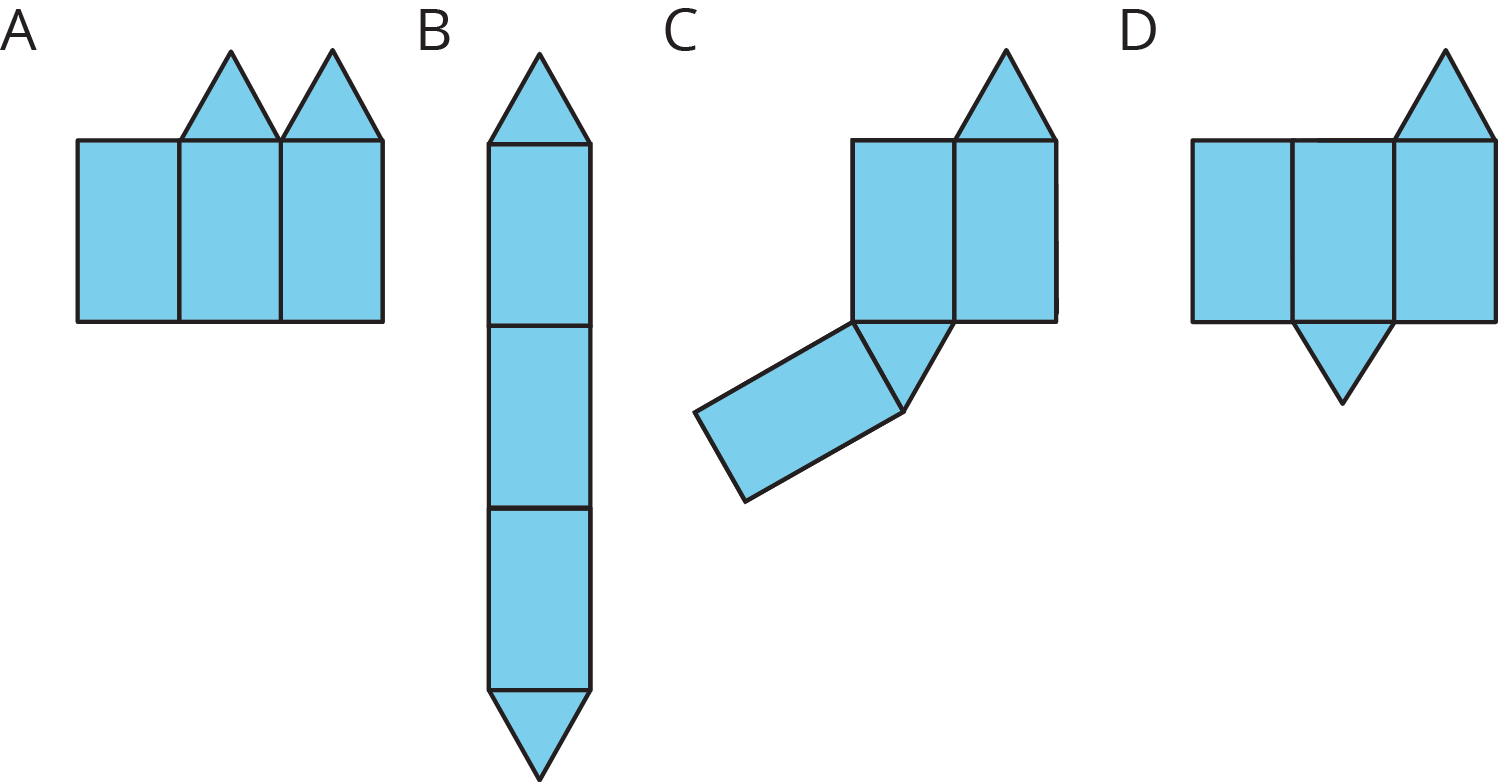 Four possible nets labeled A--D.