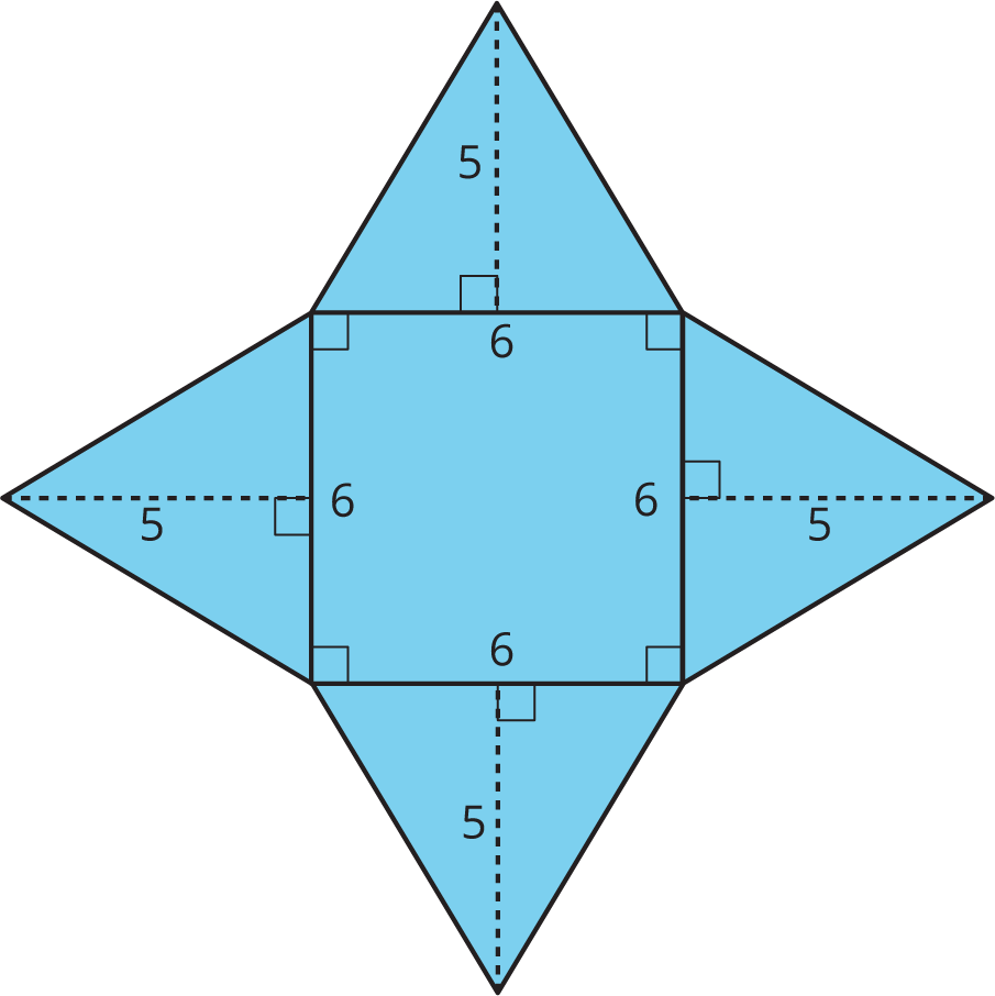 A net with a square of side length 6 surrounded by triangles of height 5.