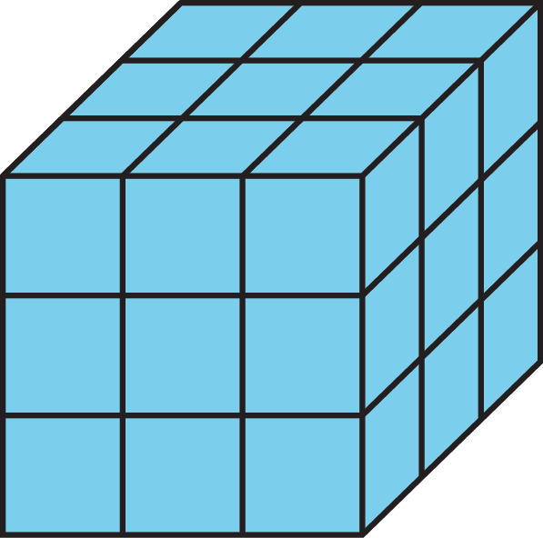 A 3 by 3 by 3 cube.