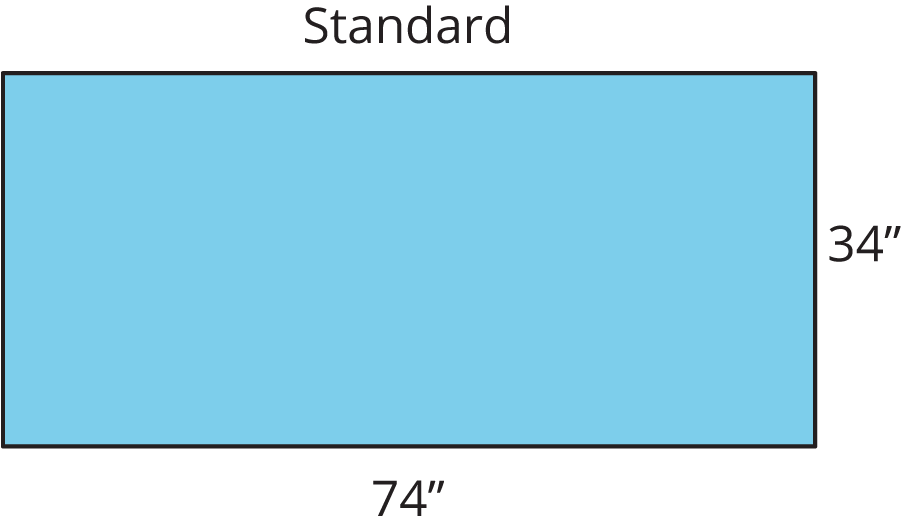 A rectangle with side lengths 74 inches and 34 inches.