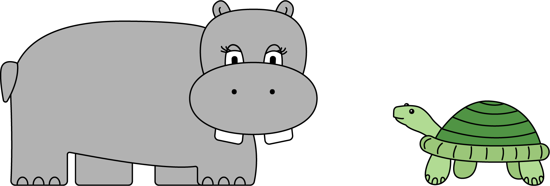 """A hippopotamus with 2 eyes and 4 legs and a giant turtle with 2 eyes and 4 legs."""