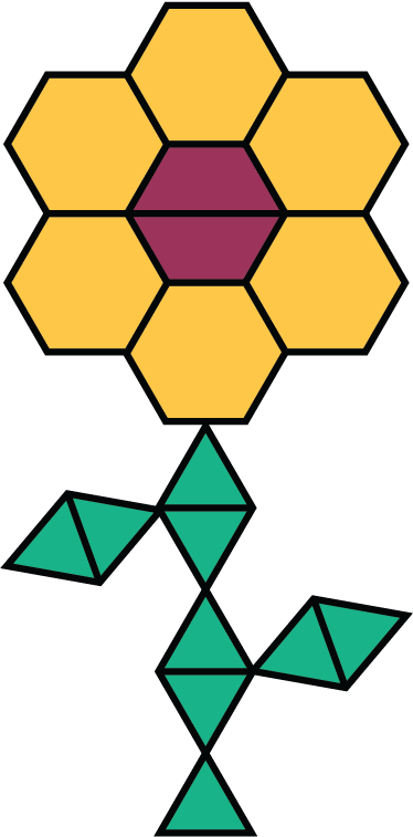 """A figure that contains hexagons, trapezoids, and triangles arranged to represent a flower. The figure contains 6 yellow hexagons, 2 red trapezoids, and 9 green triangles."""