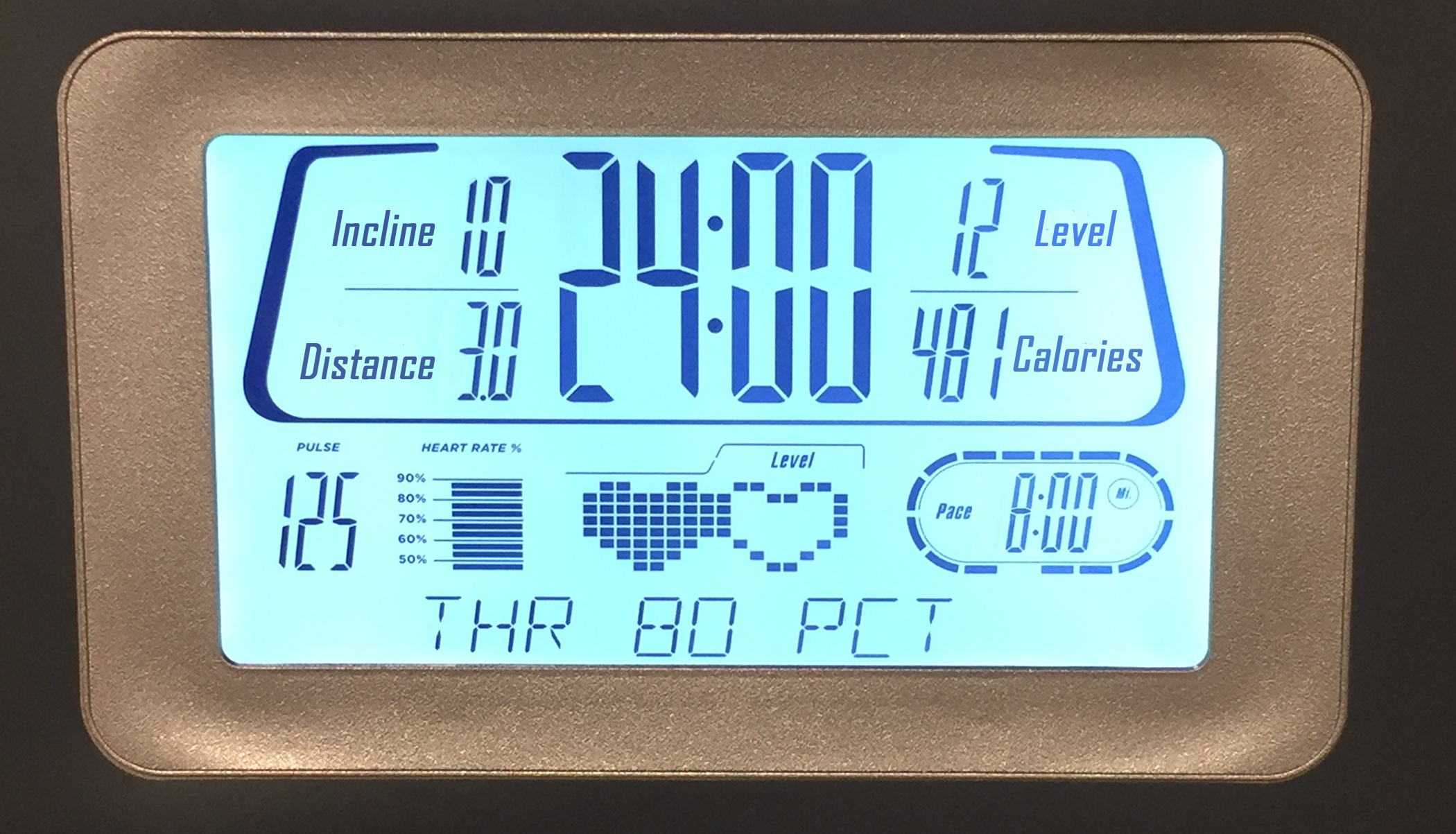 An image of Mai's treadmill display for the distance and time ran. The data on the treadmill for the run are as follows: Total Time: 24 minutes, 0 seconds. Distance, 3.0 miles. Pace, 8 minutes, 0 seconds. Calories, 481. Incline, 10. Level, 12. Pulse, 125.
