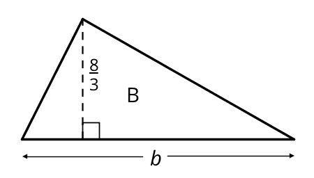 A triangle labeled B has a horizontal side on the bottom of the triangle and a vertex above the horizontal side. A dashed line from the vertex to the horizontal side is drawn and a right angle symbol is indicated. The horizontal side is labeled b and the dashed line is labeled eight thirds.