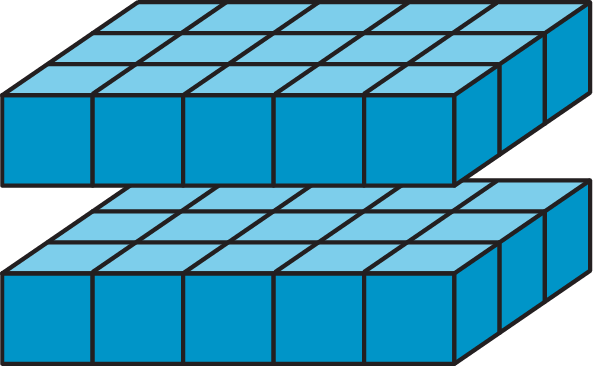 Two layers of unit cubes. Each layer has edge lengths of 1 unit, 3 units, and 5 units.  The figure is labeled 2 times 3 times 5.